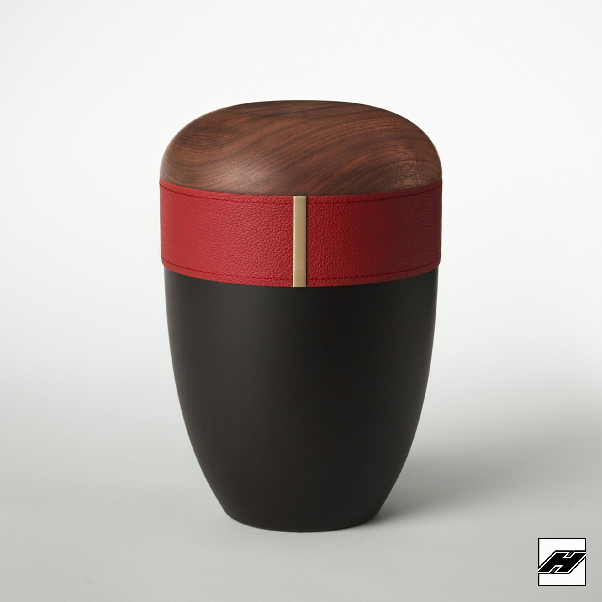 Urne Holz/Leder Bordeaux anthrazit, mit Glattleder