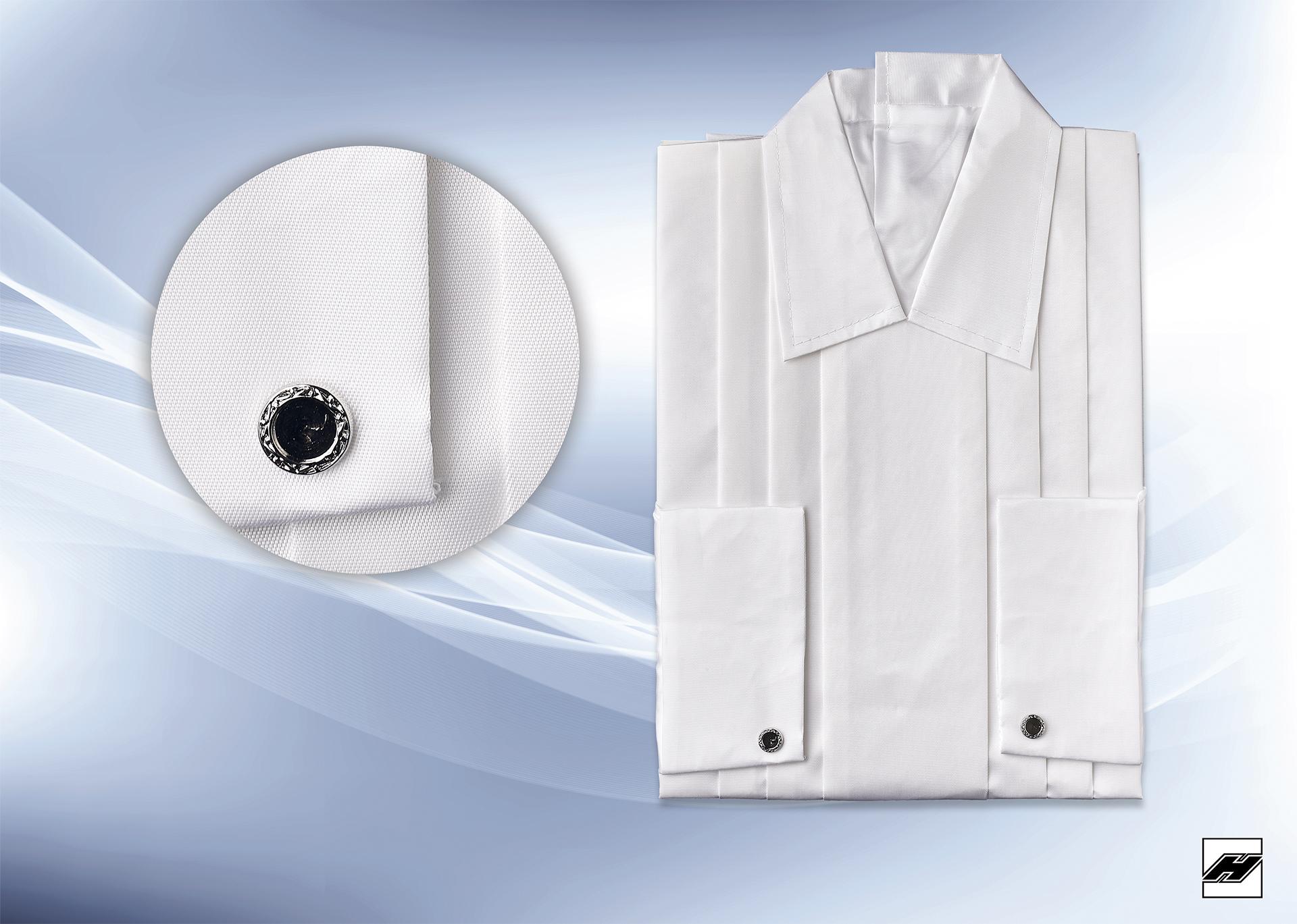 Herrenhemd 145 KS weiß, Manschettenknöpfe