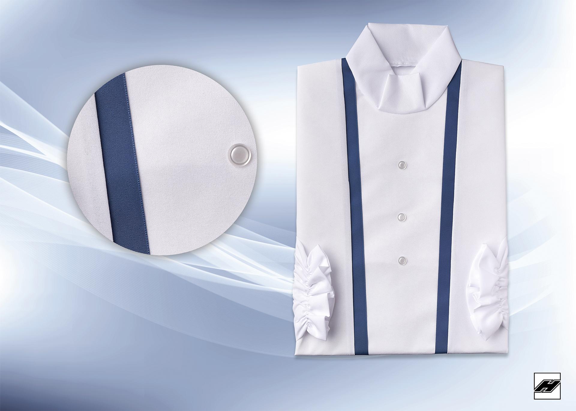 Damenkleid 2545 Microquilt weiß, Borde nachblau
