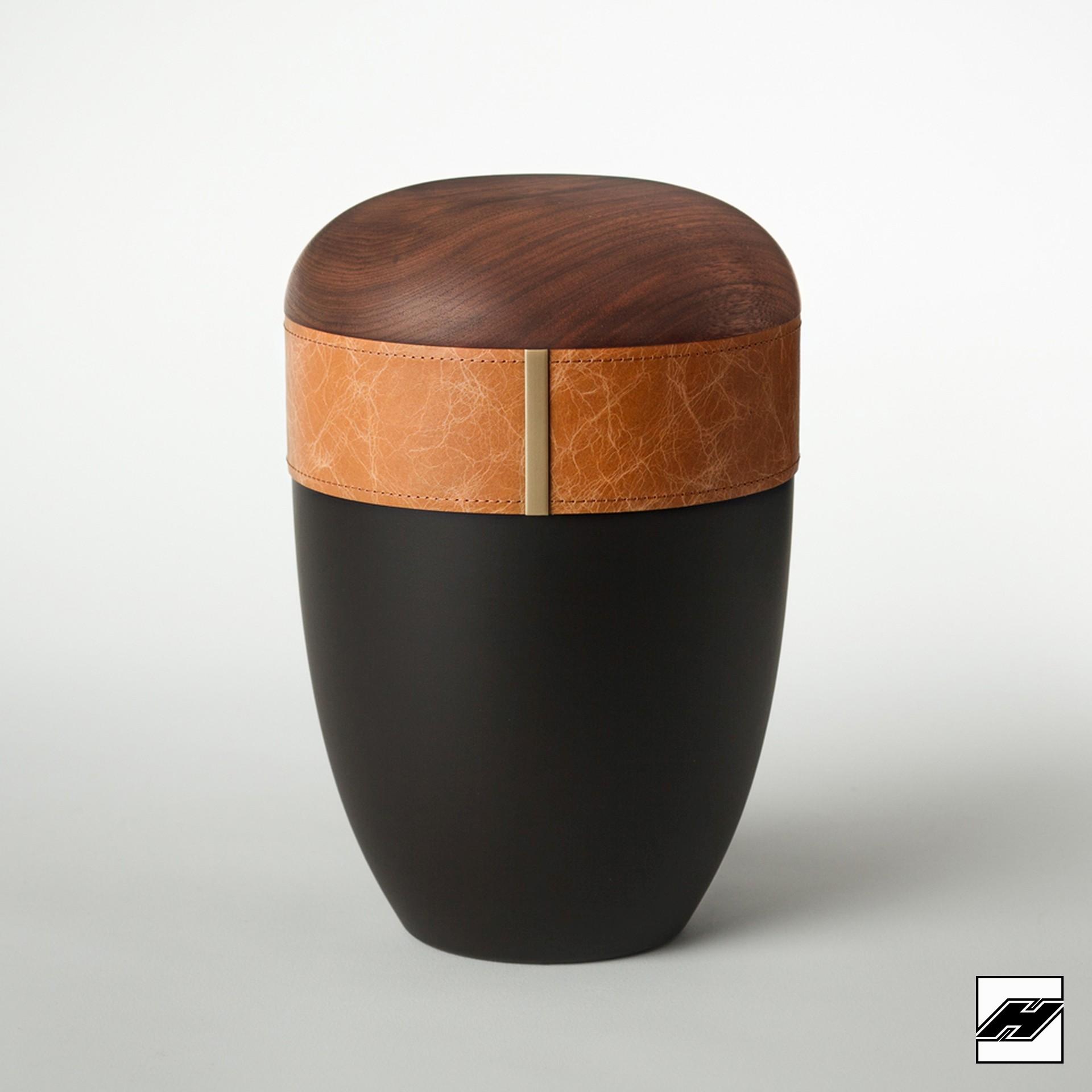Urne Holz/Leder Caramel anthrazit, mit Glattleder