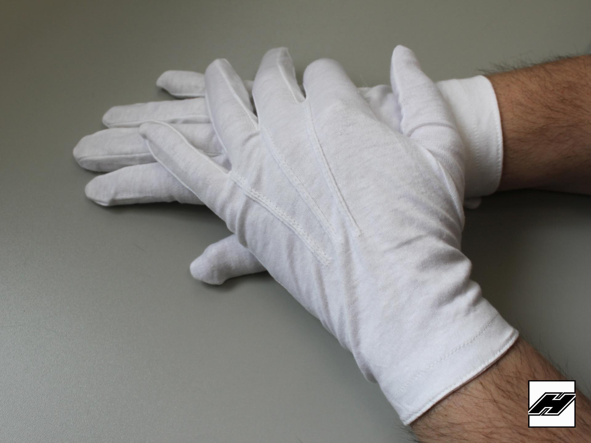 Trägerhandschuhe, weiss, mit Druckknopf