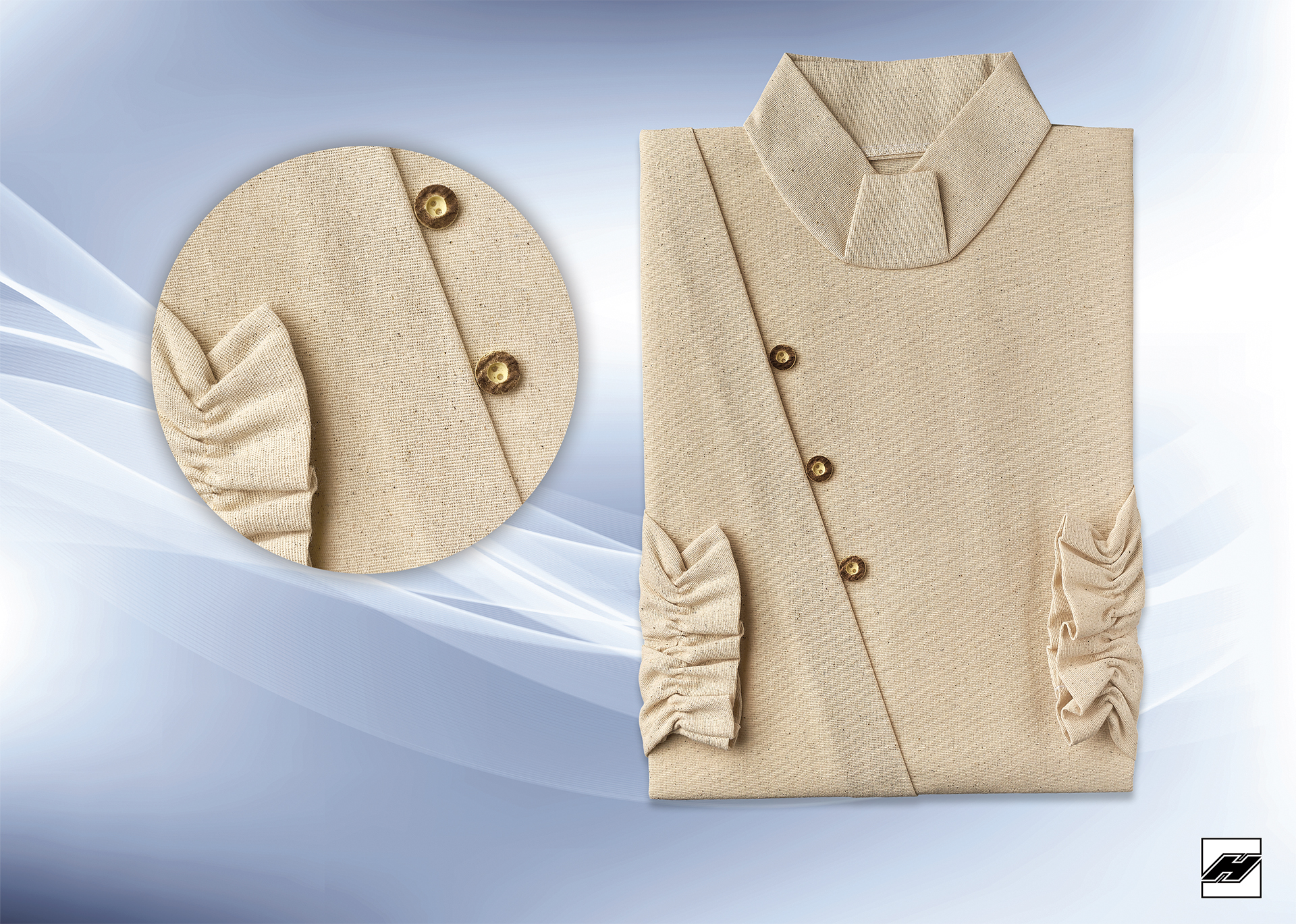 Damenkleid 2087 Chantung, Horn-Imitat-Knöpfen