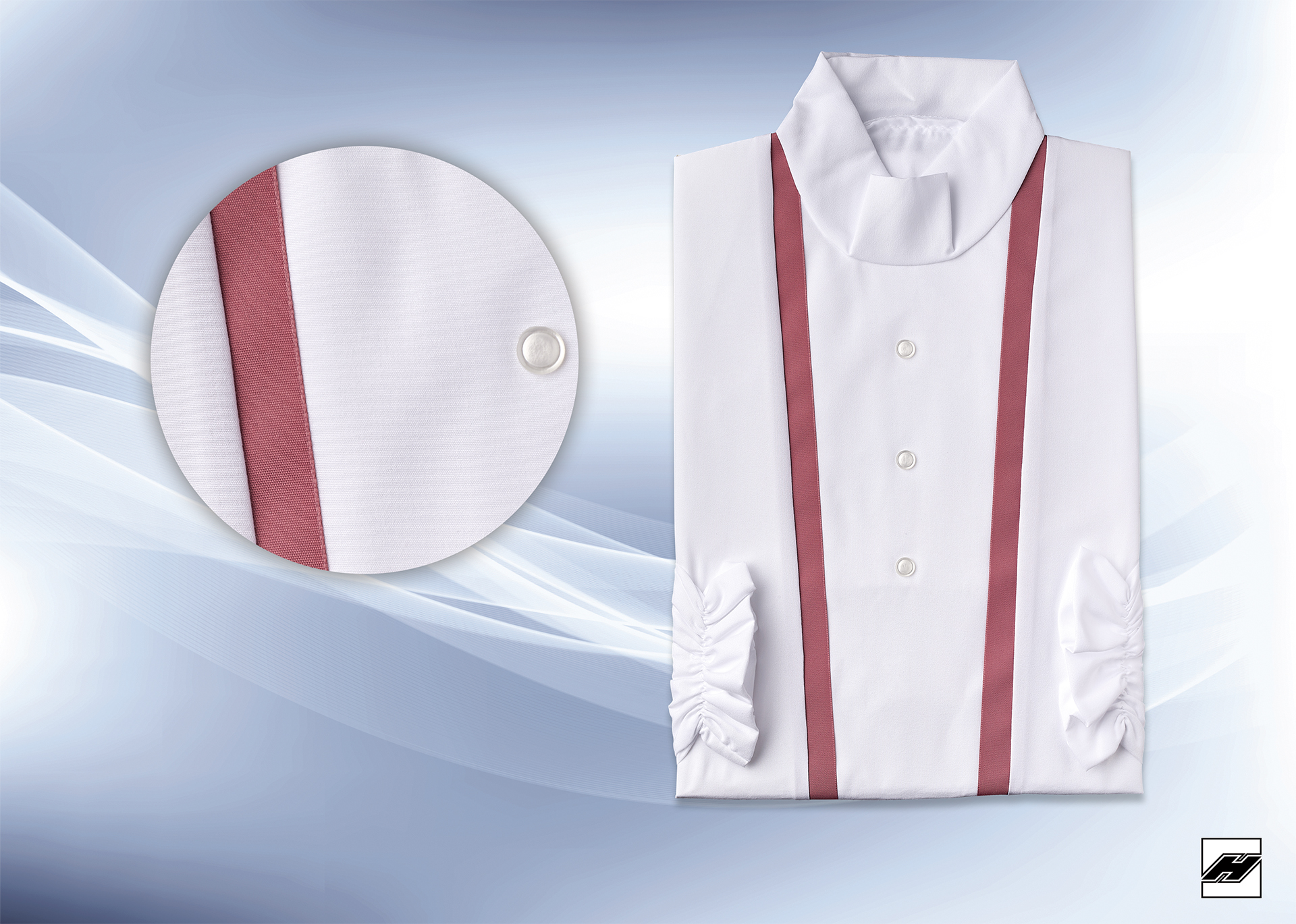 Damenkleid 2545 Microquilt weiß, Borde rosenmalve