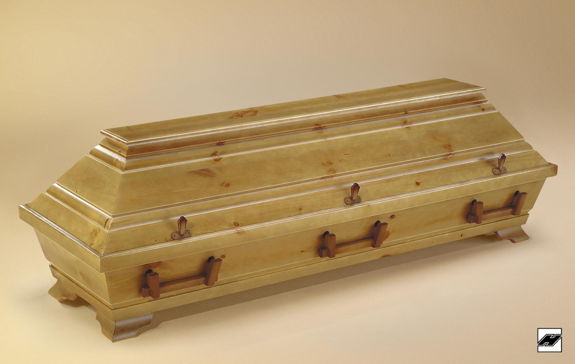 Kiefernsarg 01 (große Form) rustikal, astiges Holz