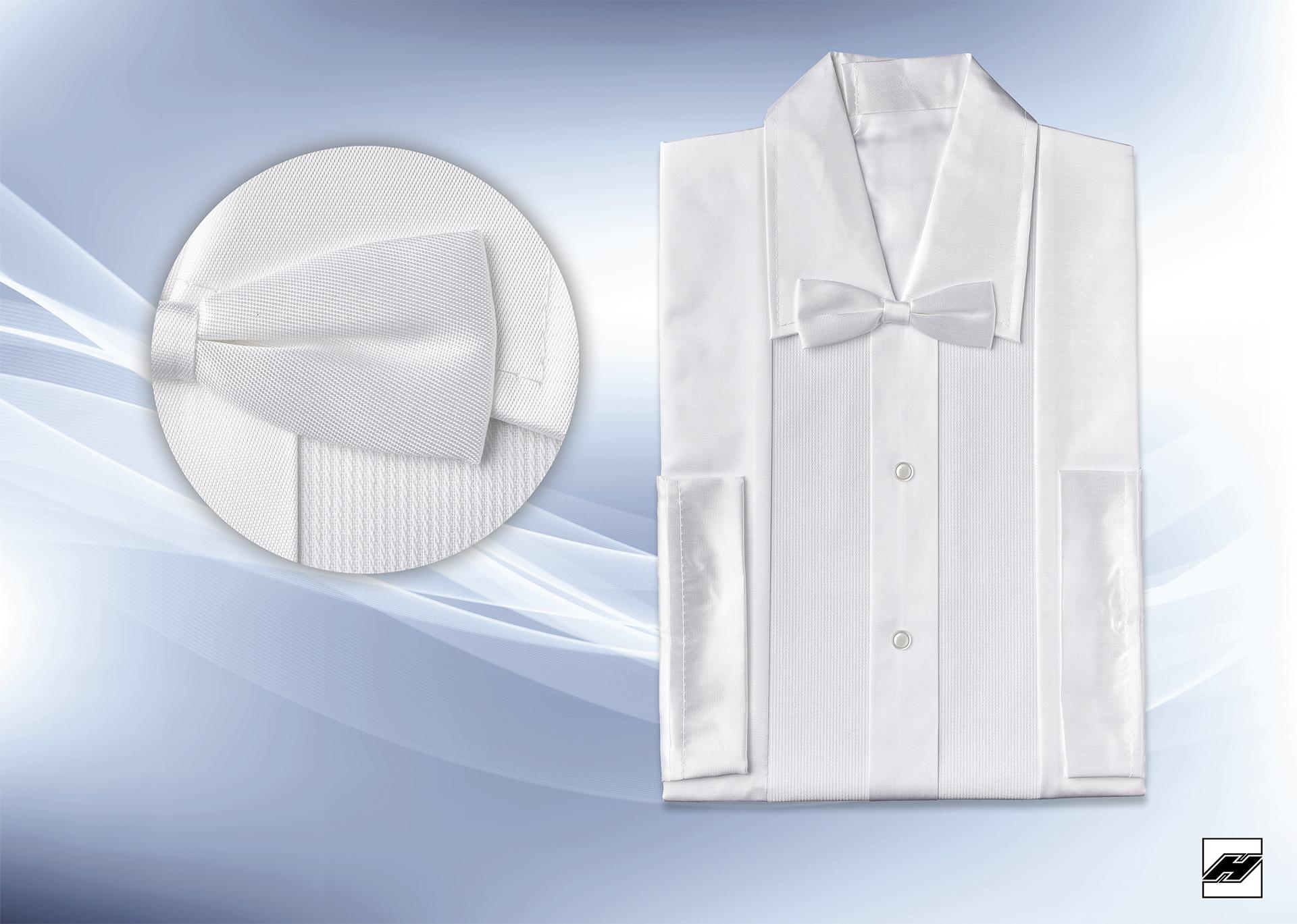 Herrenhemd 161 KS weiß, Pikeé-Aufsatz