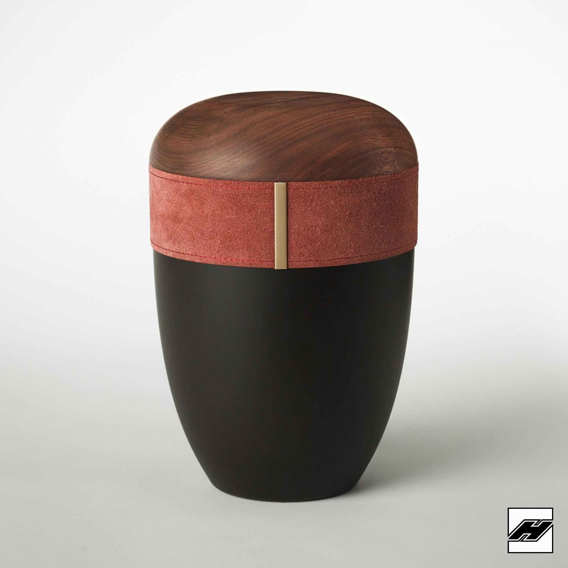 Urne Holz/Leder Bordeaux anthrazit, mit Wildleder