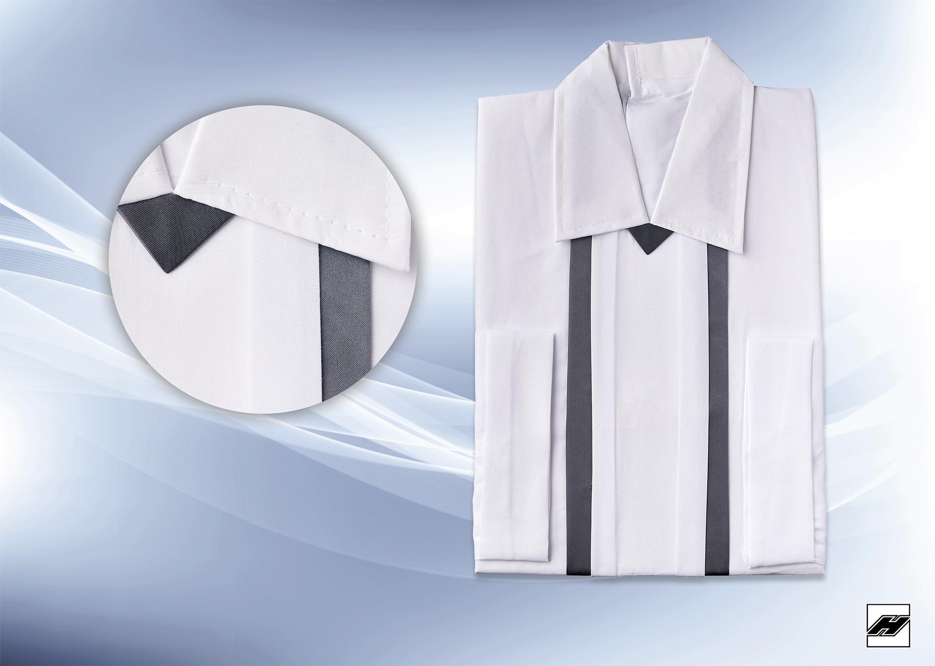 Herrenhemd 1556 Microquilt weiß, Borde anthrazit