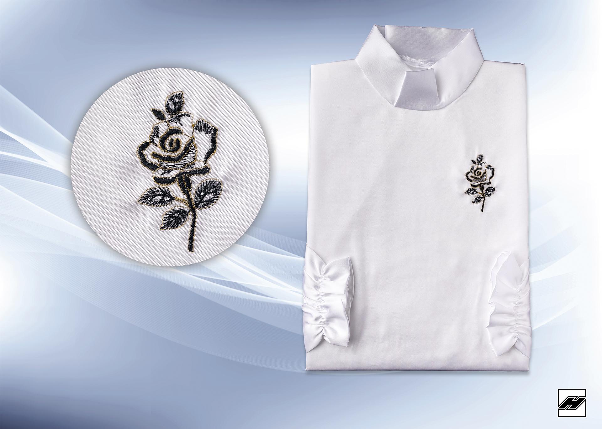 Damenkleid 229 KS weiß, Stehkragen, Stickerei: kleine schwarze Rose
