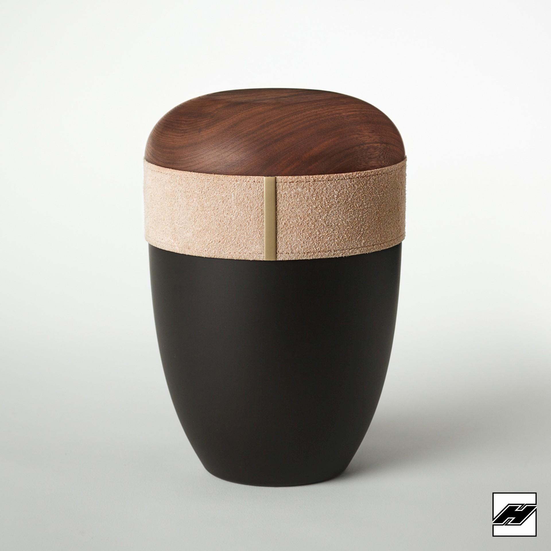 Urne Holz/Leder Caramel anthrazit, mit Wildleder