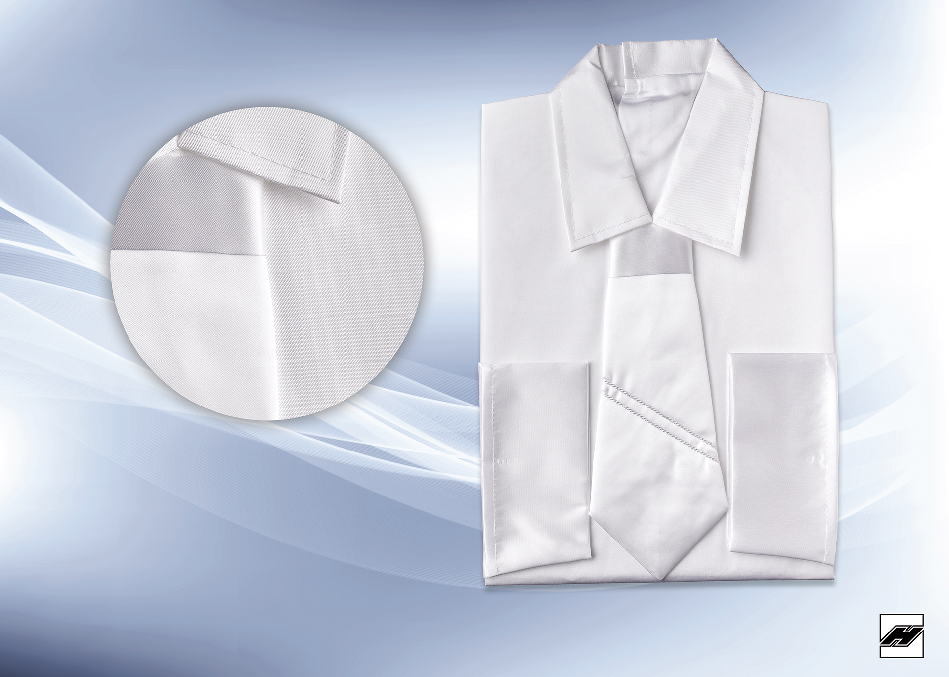Herrenhemd 113 KS weiß, gebundener Schlips