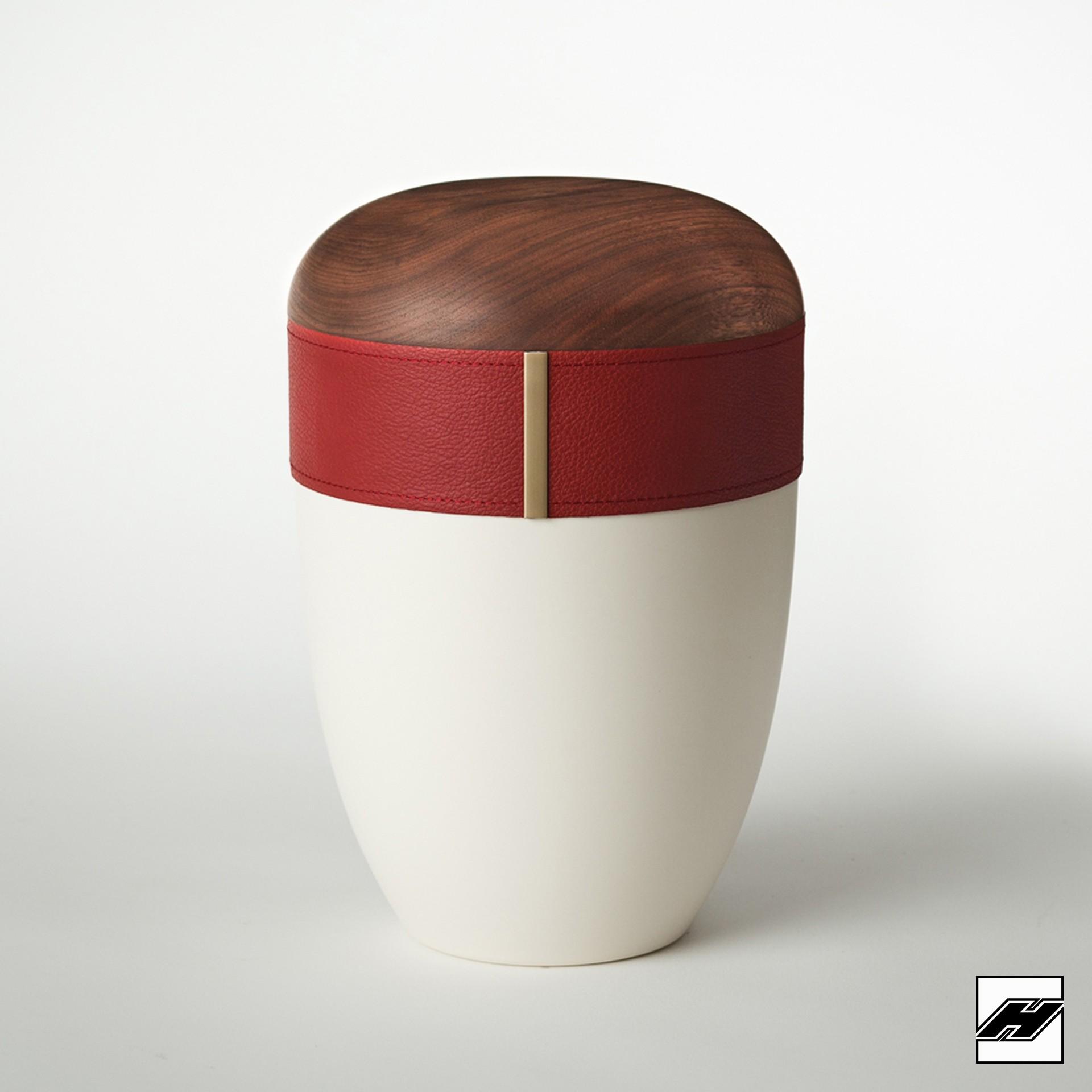 Urne Holz/Leder Bordeaux cremeweiß, mit Glattleder