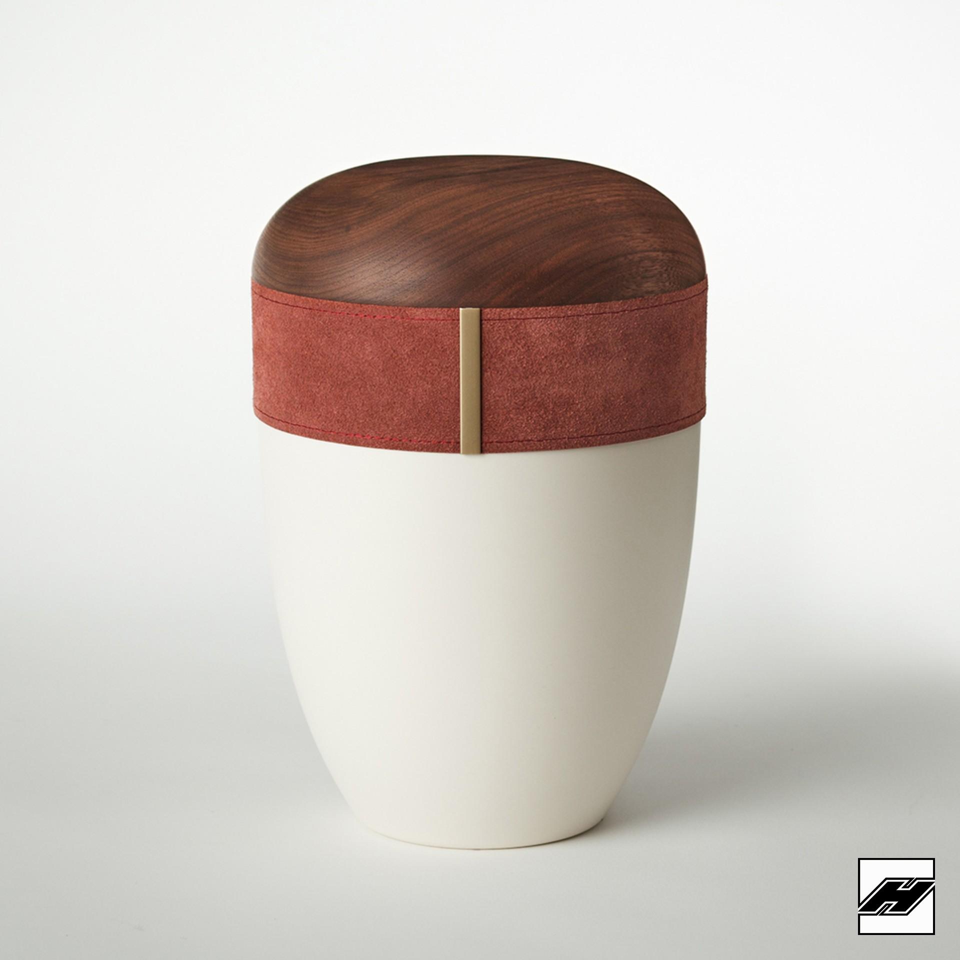 Urne Holz/Leder Bordeaux cremeweiß, mit Wildleder