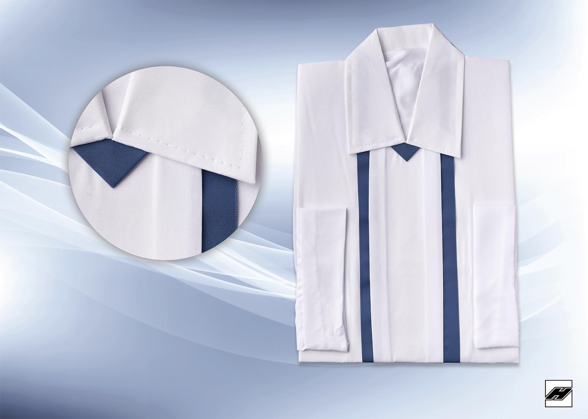 Herrenhemd 1556 Microquilt weiß, Borde nachtblau