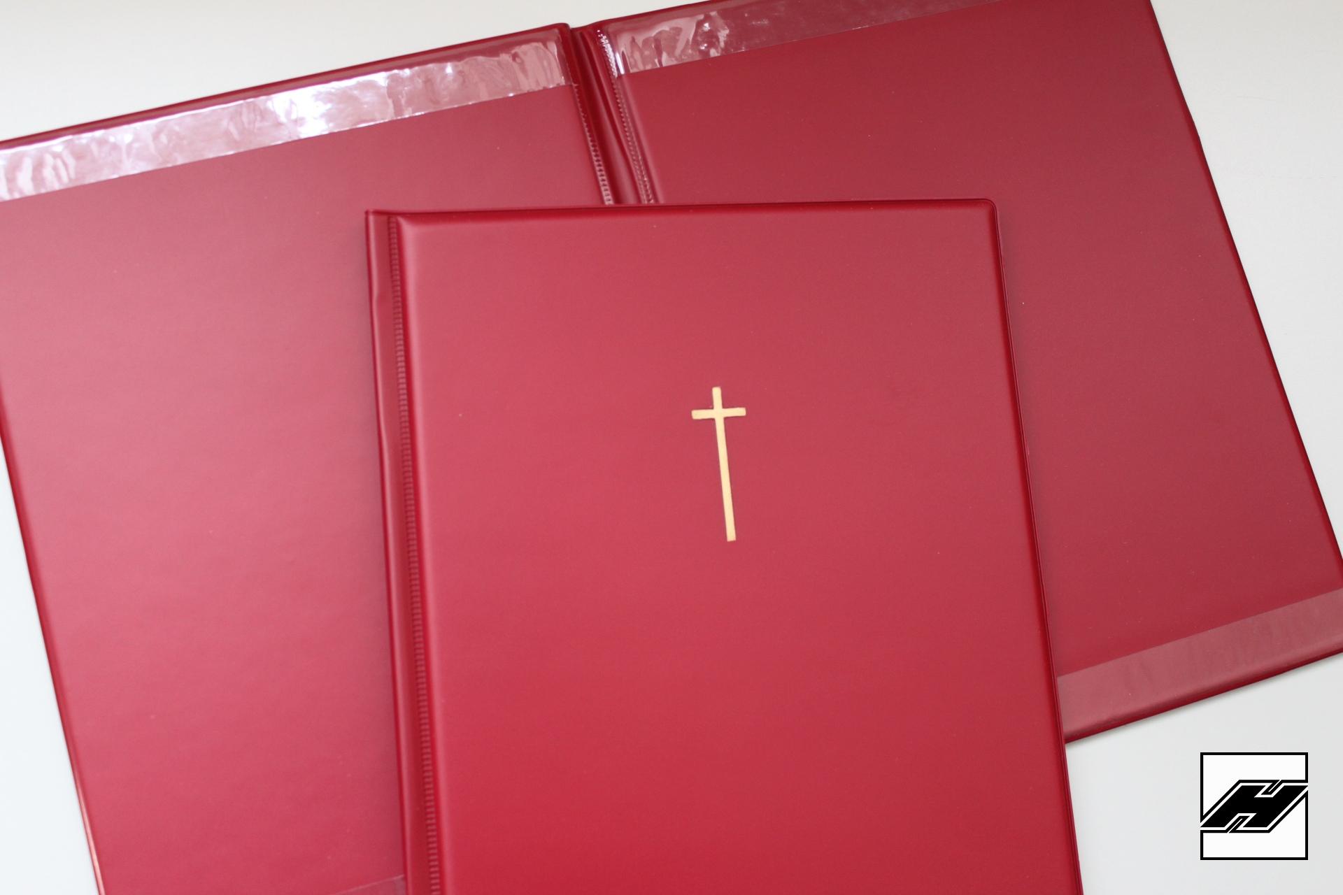 Auslegemappe bordeaux, mit Kreuz