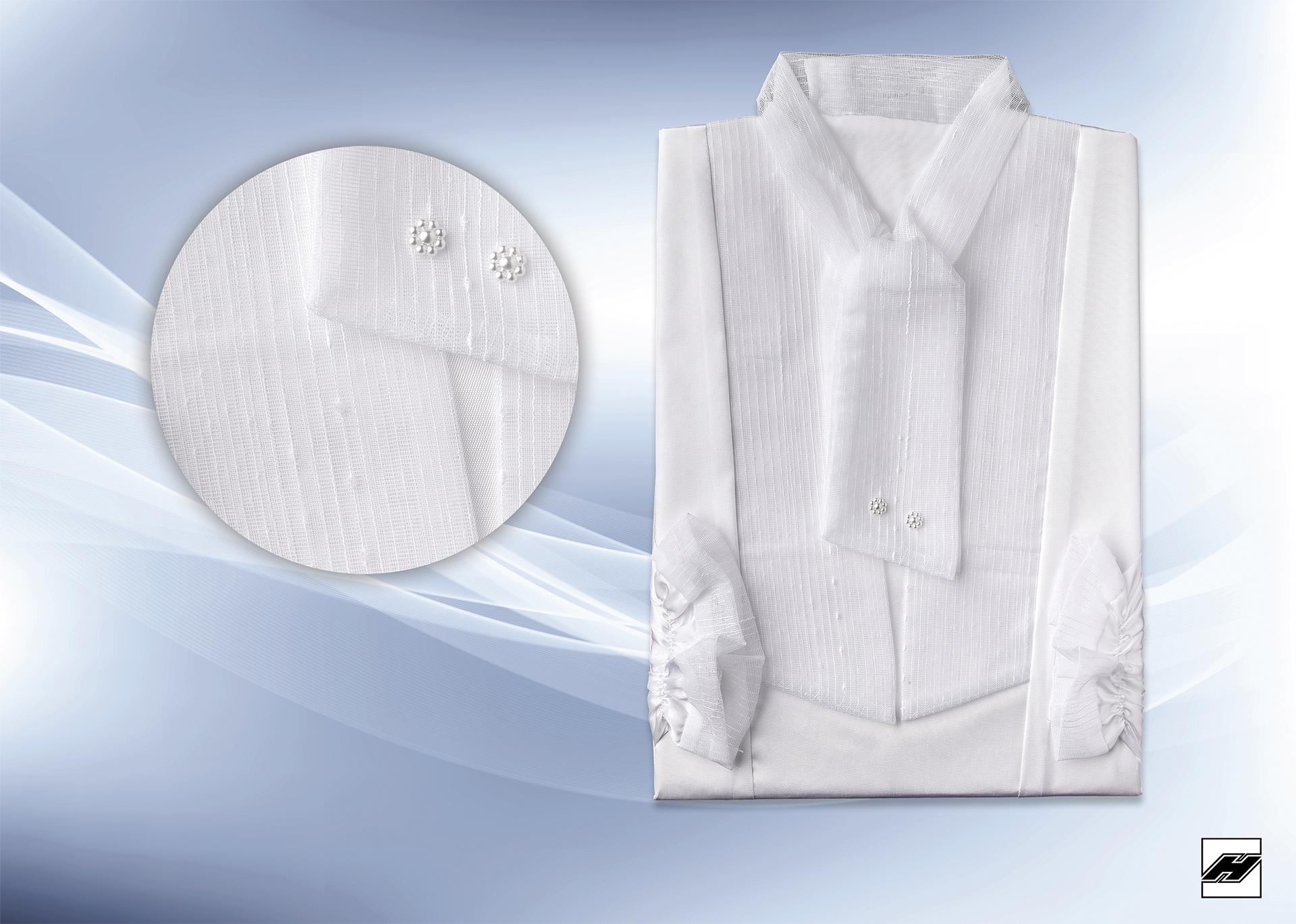 Damenkleid 2537 KS weiß, Schalkragen und Besatz aus Gardinenware
