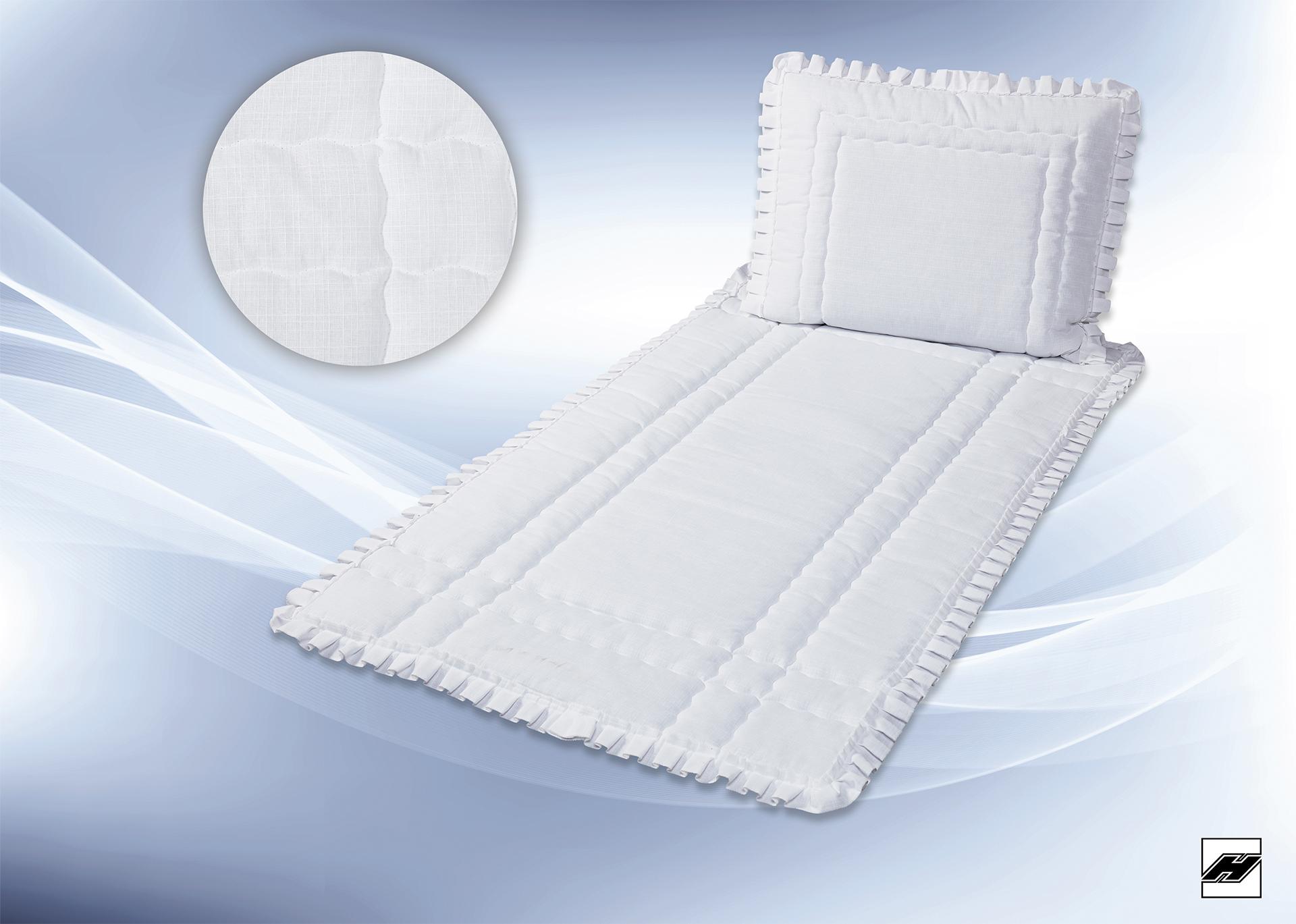 Deckengarnitur 370 P Leinen weiß, Stofftollfalte