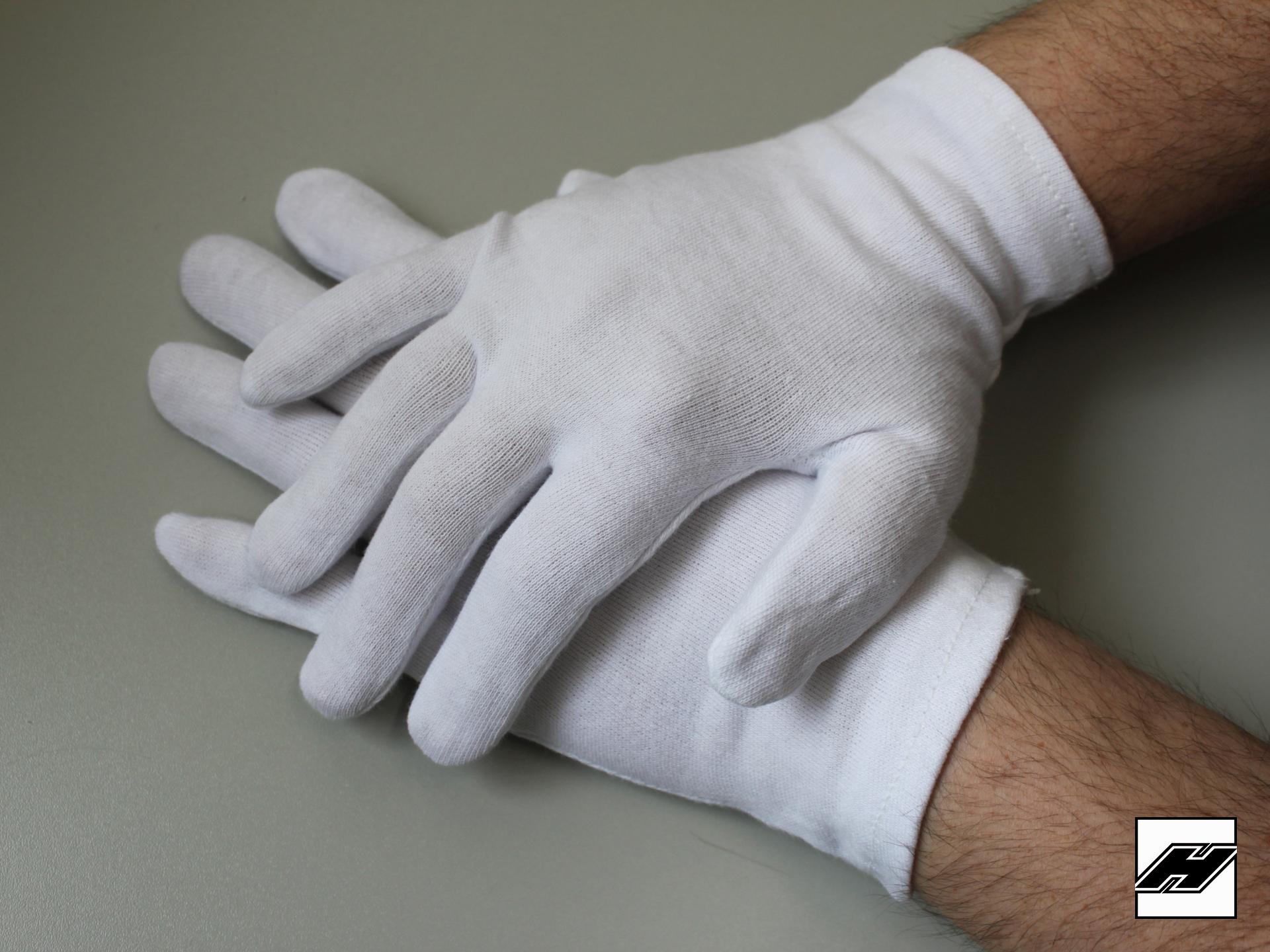 Trägerhandschuhe, weiss